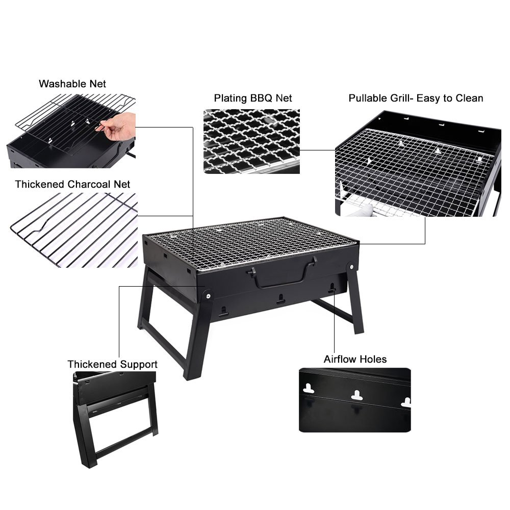 Woby BBQ Charcoal Grill Small Foldable Portable Lightweight Tabletop Barbecue Grill Cooker for Outdoor Cooking Picnics Camping Hiking at Home by Woby (Image #3)