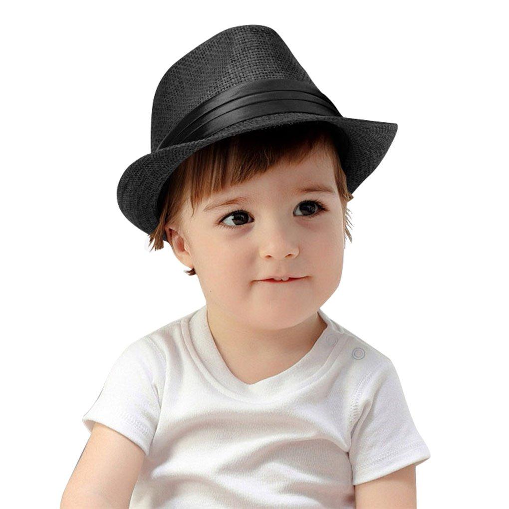 KEA KEA Kids Summer Fedora Hat Classic Vintage Panama Short Brim Straw Fedora Hat Black