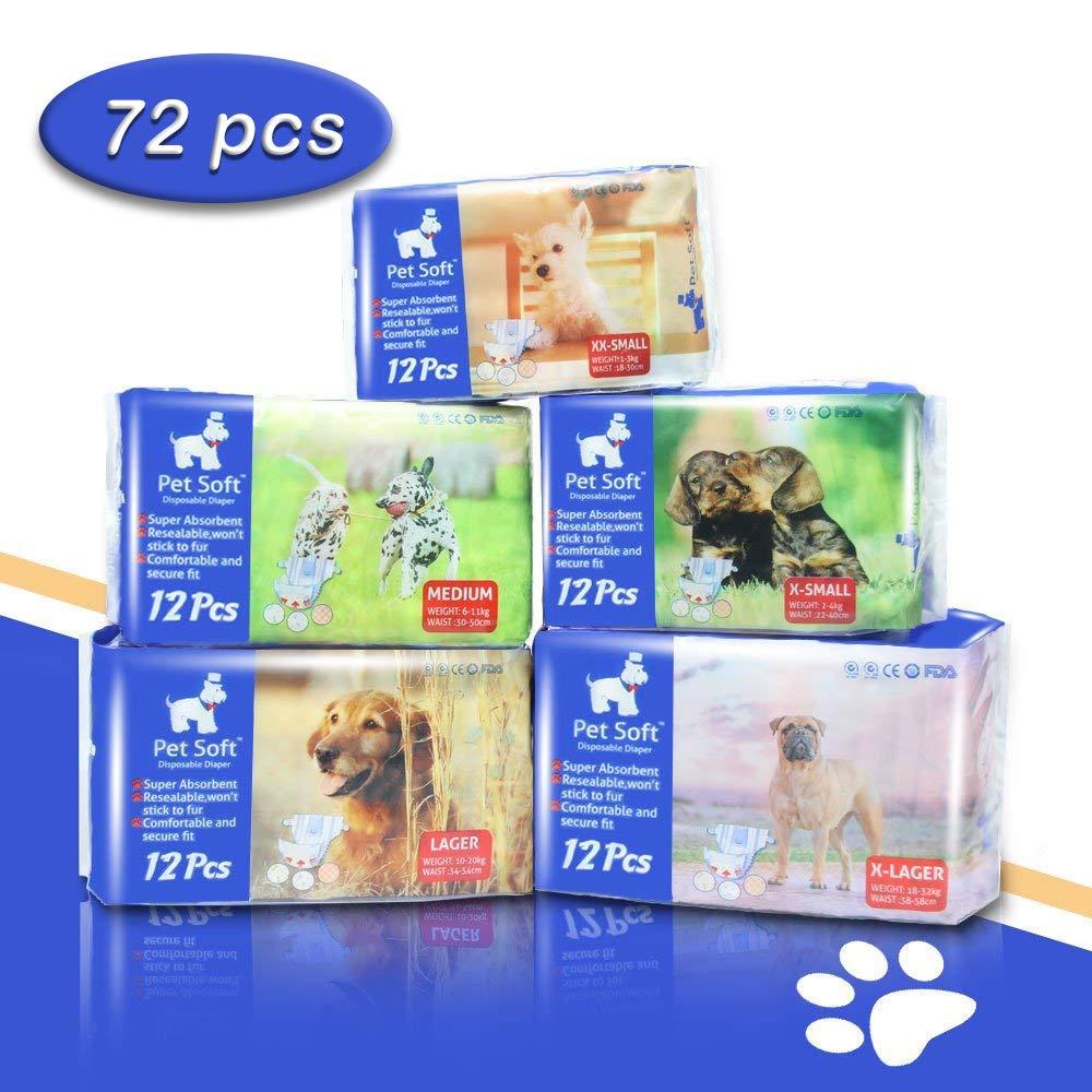 Pet Soft Pet Disposable Female Puppy Dog Diaper,72 Count, XXS by Pet Soft