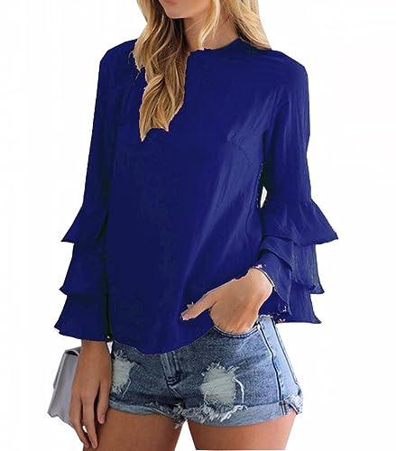 LemonGirl Mujeres sueltas acogedoras manga plegable Blusa Pullover Delgada sección camisa de gasa