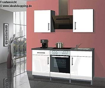 Menke Singleküche Küche Küchenblock 180 Cm Graphit Weiß Hochglanz