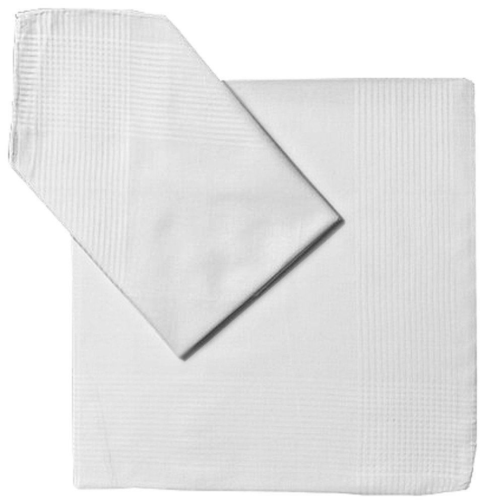 Handkerchief Pocket Square White Fine Cotton Cloth with Lined Border 19 X 19 Inch (Pack of 2)