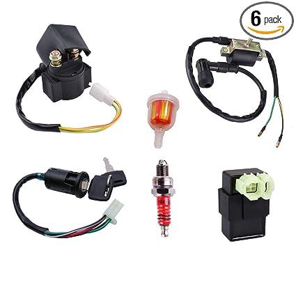 Amazon com: 50cc Ignition Coil CDI Box Solenoid Relay