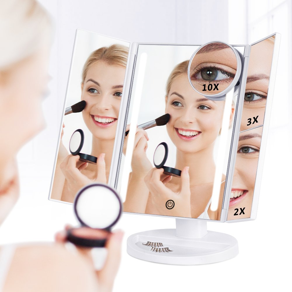 Lighted Makeup Mirror, Batteries or USB Charging, Trifold Vanity Mirror with Touch Screen, Rotating Countertop Cosmetic Mirror with 2X/3X/10X Magnifying Glass