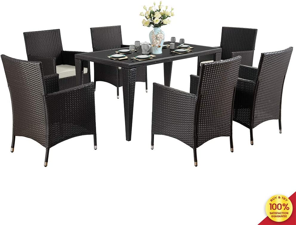 MOOSENG 7 Pieces Outdoor Rattan Patio Dining Set Modern Wicker Conversation Sectional Chairs, with Cushioned Couch Glass Top Table Perfect for Garden Poolside Backyard, Black