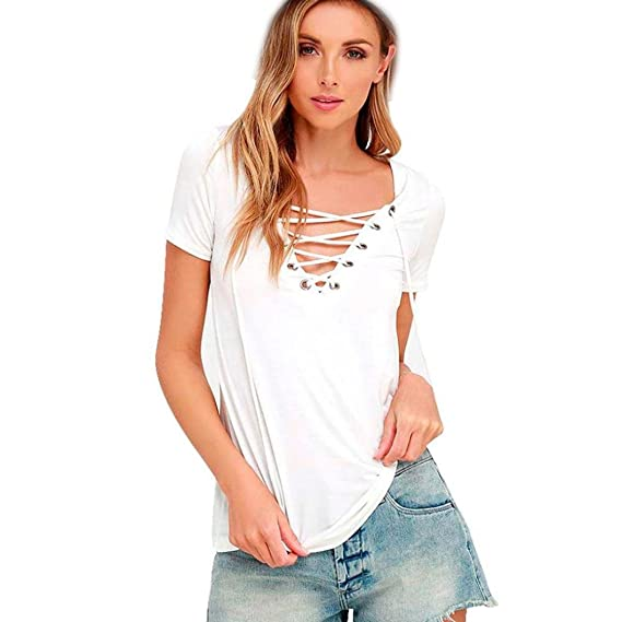 Logobeing Camiseta Manga Corta para Mujer Tops Moda Camisa Floja para Mujer  Casual Traje de Verano d73beeed8e0f9
