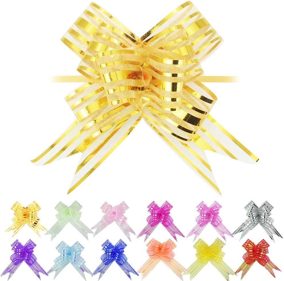 EMAGEREN 12pcs Lazos Regalo Grande con Cinta Colores Lazo para Tirar Organza Decoración del Paquete Envoltura de Regalos Ideal para Cumpleaños/Coche/Bodas/Fiestas/Navidad/Día de San Valentín