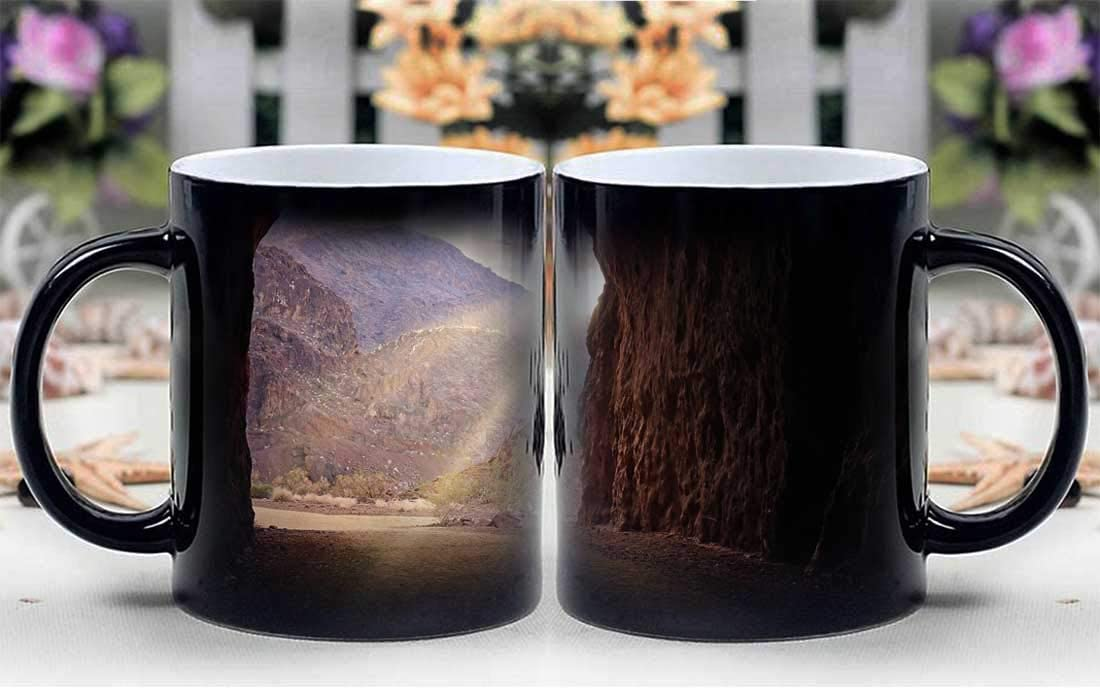 Amymami Personalized Gifts Heat Changing Magic Coffee Mug - Railroad Trail Hiking Tunnel Hoover Dam Lake Mead