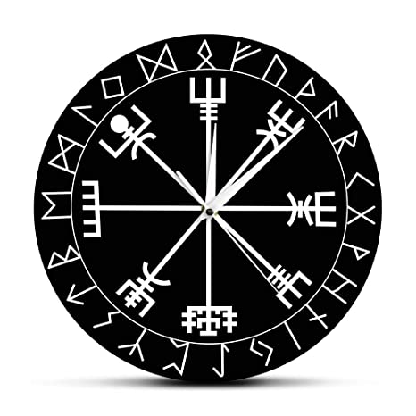 Pmrioe Brújula Rúnica Reloj De Pared Vegvisir Runa Círculo Vikingo Mitología Nórdica Reloj Moderno Moderno Reloj