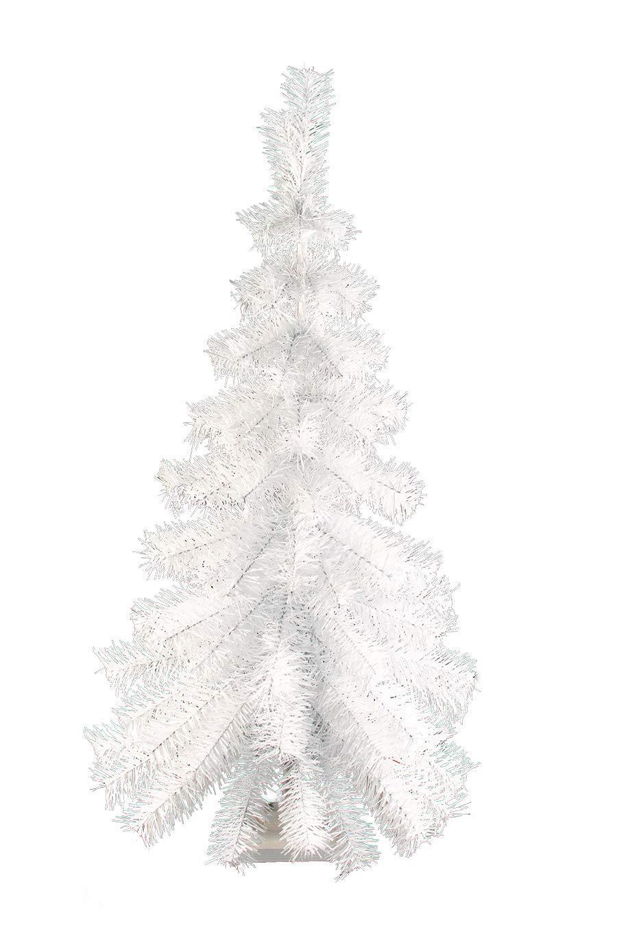 3FT White Hanging Wall Christmas Tree Classic White Tinsel Tree Half Cut Wall Decor 36'' White Feather Tree Vintage Retro Christmas Merchandising Retail Display Tree