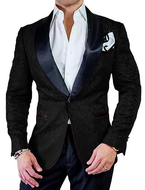 authentic quality retro best collection DGMJ Floral Tuxedo Blazer for Men Wedding Slim Stylish ...