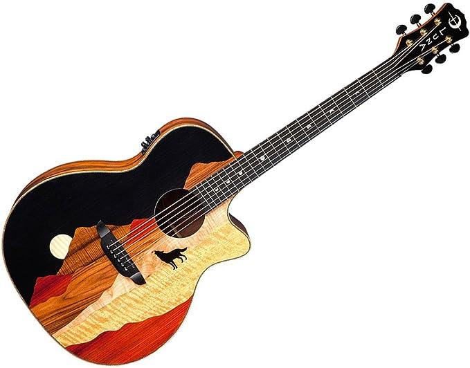 Luna Guitars VISTA WOLF – Guitarra acústica madera Tropical coco ...