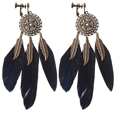 Modogirl Vintage Hollow Round Flowers Dangle Clip on Earrings Long Leaf Feather Tassel