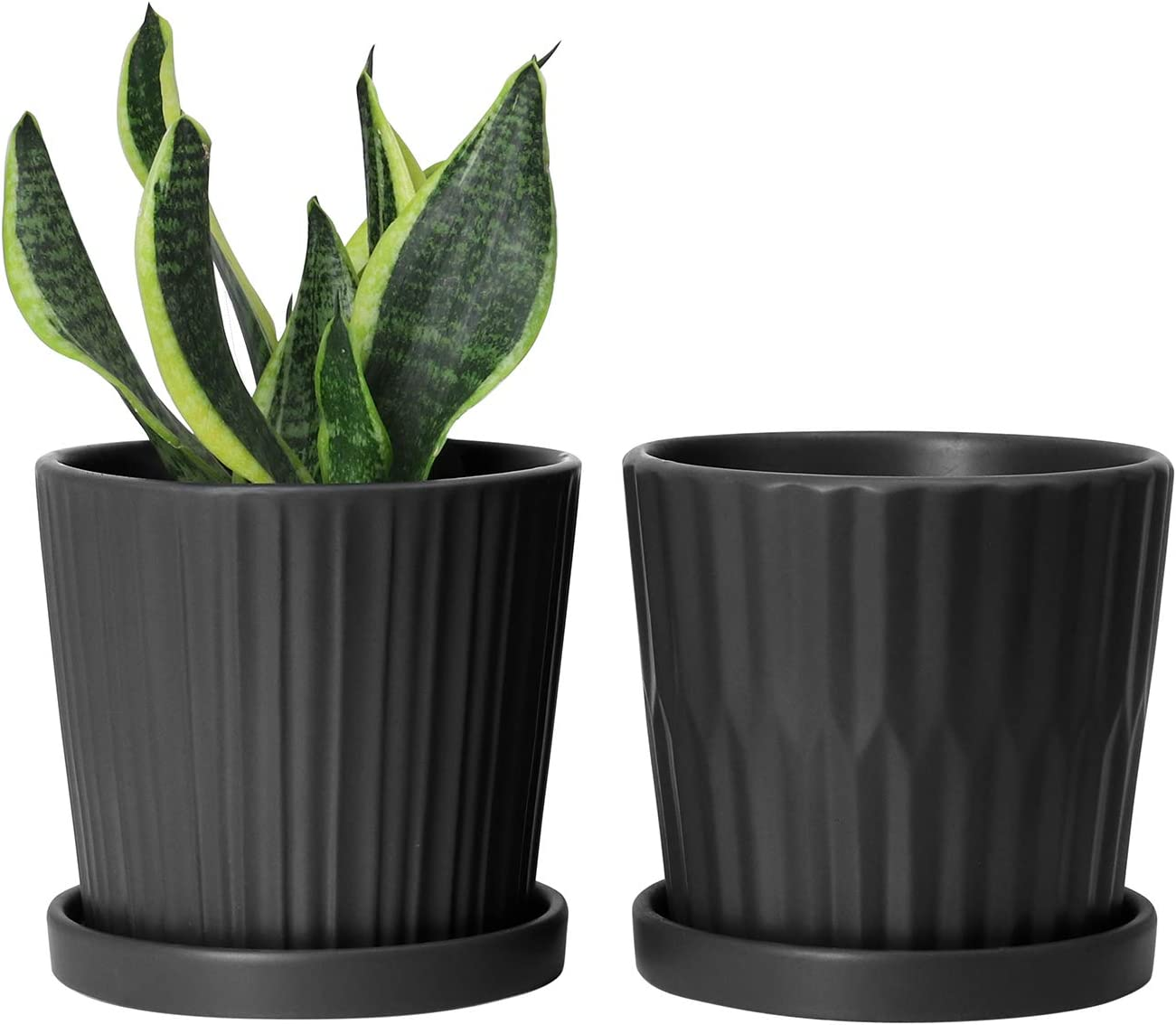 Medium Plant Pots - 6 Inch Black Cylinder Ceramic Planters with Attached Saucers, Two Line Grain, House and Office Decor, Set of 2