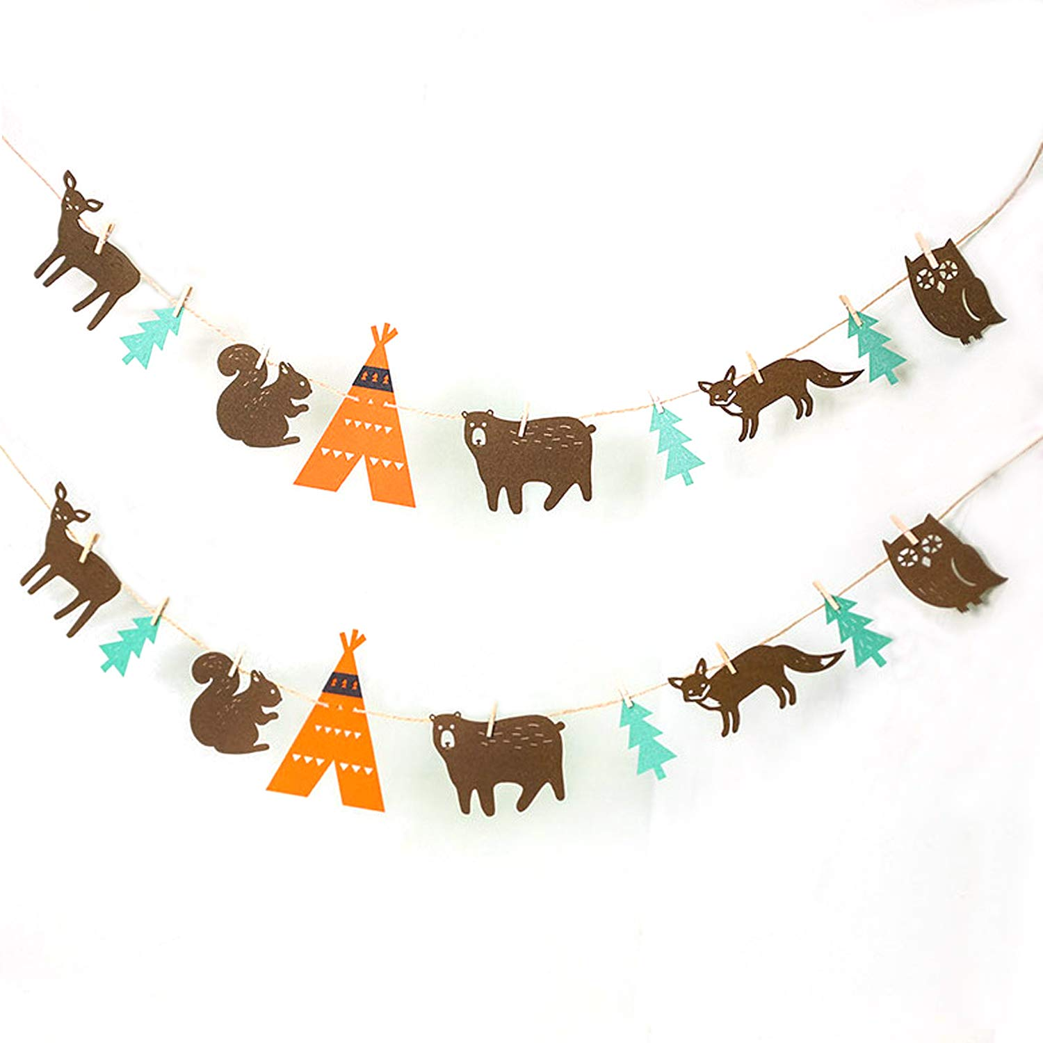 Woodland Creatures Banner Forest Animals Bunting Felt Garland Baby Shower Birthday Wedding Party Decorations Camping Favors
