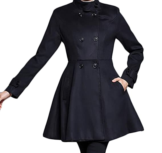 4379b75a599 Amazon.com  BYWX Women Plus Size Plus Size Winter Fall Double Breasted  Solid Swing Dress Pea Coat Outwear  Clothing