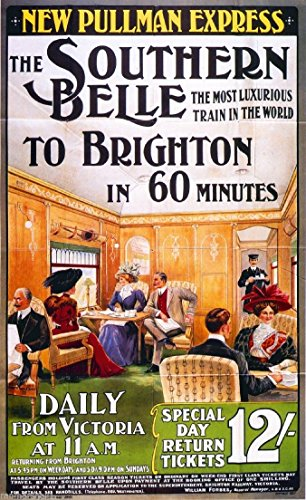 MAGNET 1890s Southern Belle Vintage Great Britain Railway Travel Advertisement Magnet -