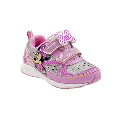 Josmo Kids Girl s Minnie Mouse Double Strap Lighted Sneaker (7) Pink White 4656a33e2d9