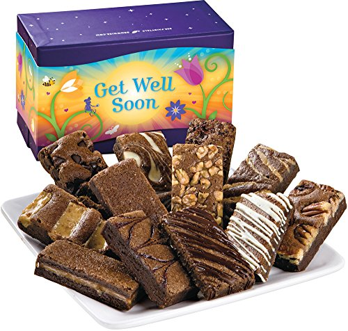 Fairytale Brownies Get Well Sprite Dozen Gourmet Food Gift Basket Chocolate Box - 3 Inch x 1.5 Inch Snack-Size Brownies - 12 Pieces