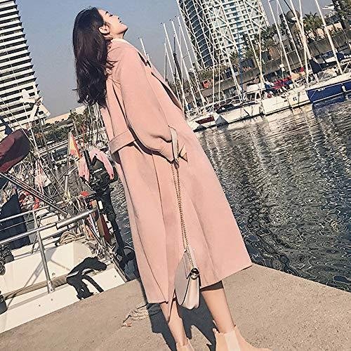 Mujer Capa Rosa Abrigo Viento Tefamore Invierno Sólido Cardigan Outwear Con Cálido ❤️ Bolsillos Chaqueta Color Elegante Larga q5xwpp7T
