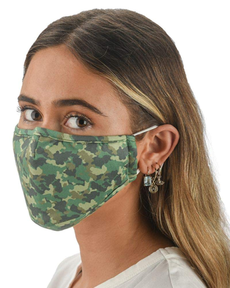 Snoozies 3-Layer Washable Face Mask w Filters & Nose Bridge - Camo