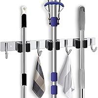 Wall Mount Broom Mop Holder with 3 Racks & 4 Hanger Hooks, Stainless Steel Storage Organizer Tools for Kitchen Bathroom…