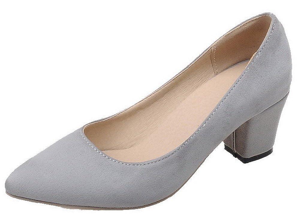 AgeeMi Shoes Mujer Sin Cordones Tacón Medio Sólido Suede de Salón