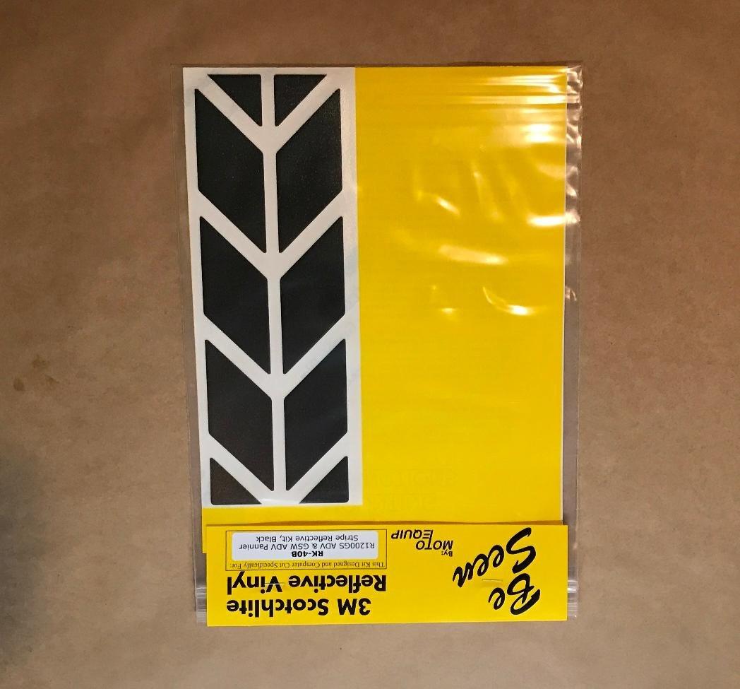 BMW R1200GS Adventure Saddlebag Corner Reflective Tape kit BLACK ME RK-40B