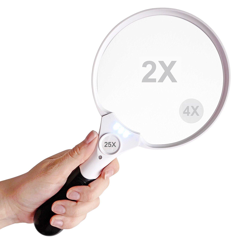 14cm Handheld mappa documento lente di ingrandimento con luce a LED extra large–2x 4x 25x lente–Best Jumbo size illuminato lente d' ingrandimento lettura per libri, giornali, mappe, monete, gioielli, hobby e artigianato Sunerly
