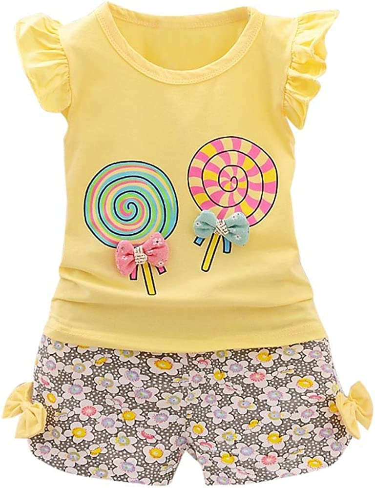 Kid Girls Cotton Sweet Printed Fly Sleeve T-Shirt Tops with Bowknot Short Pants 2 Pcs Clothes Set