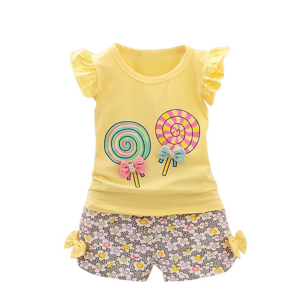 SIN vimklo 2PCS Girls Lollipop T-Shirt Floral Shorts Set