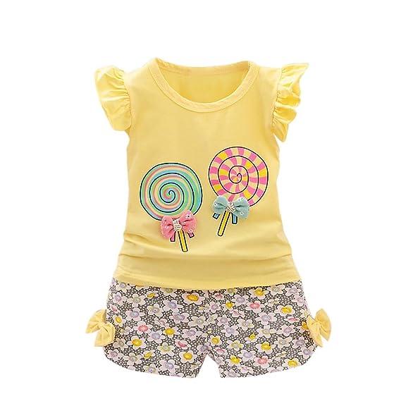 Lonshell❤️️Camisetas Manga Corta de la Linternas de la Impresión de Lollipop para Niñas Bebé