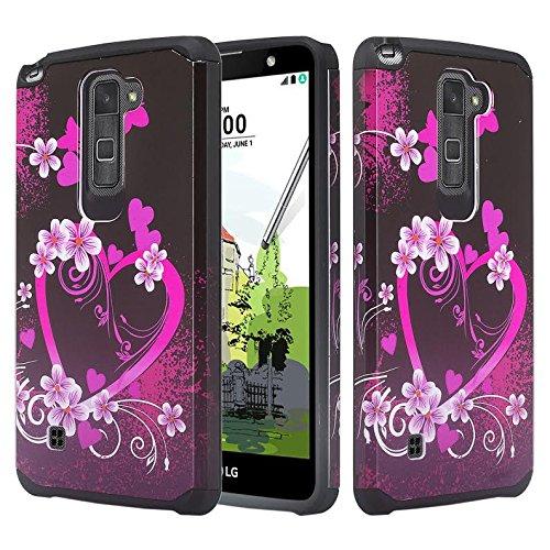 LG Stylo 2 Case, LG Stylo 2 V [Shock Absorption/Impact Resistant] Hybrid Dual Layer Armor Defender Protective Case Cover for LG Stylo 2 /LG Stylo 2 V, Hot Pink Heart Sensation
