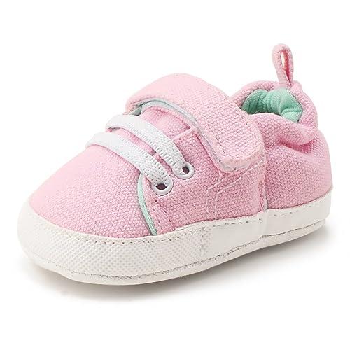 DELEBAO Zapatos Bebé Zapatillas Lona Bebe Suela Blanda Zapatos Recien Nacido Primeros Pasos Botitas para Bebes