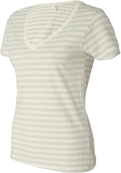 6a88f0b5f6 Amazon.com: Anvil Womens' Striped V-Neck Tee: Clothing