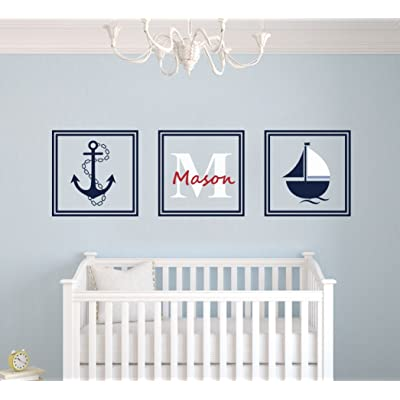 "Custom Name Nautical Ship & Anchor Squares - Premium Series -Baby Boy/Girl Wall Decal Nursery For Home Bedroom Children (MM45) (Wide 30"" x 9"" Height): Baby"