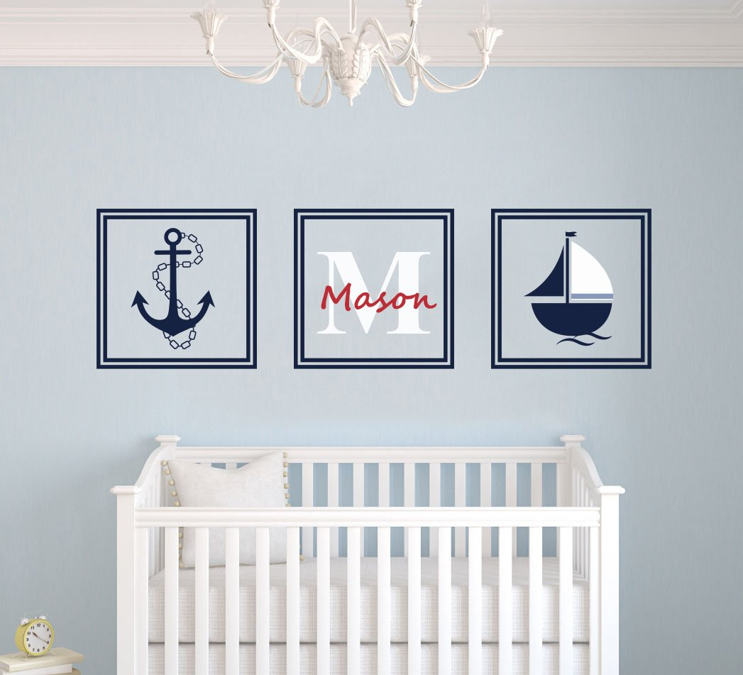"""Custom Name Nautical Ship & Anchor Squares - Premium Series -Baby Boy/Girl Wall Decal Nursery for Home Bedroom Children (MM45) (Wide 45"""" x13"""" Height)"""