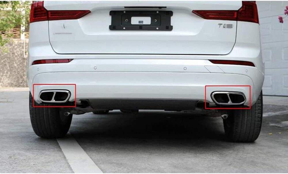 XLTWKK Car Rear Exhaust Tail Pipe Covers Trim Muffler 2 To 4 Stainless steel Accessories,For VOLVO V90 S90 XC90 XC60 V60 S60 S60L S90L