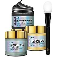 ANAI RUI Spa Facial Mask Set- Dead Sea Minerals Mud Mask - Turmeric Clay Mask - Green Tea Detox Facial Mud Mask…