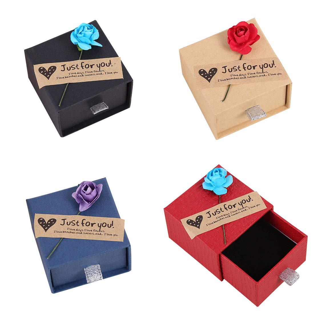 FineInno Jewelry Gift Box Square Shape Present Box Display Rings,Pendants,Necklaces,Earring for Anniversaries, Weddings, Birthdays Birthdays 2x2x1.4inch(5x5x3.5cm) (12 pcs) US-M0168B-CN