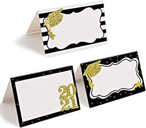 BCHOCKS 24pcs Graduation Place Cards - Best Party Graduation Food Labels for Buffet Table - Cheese Labels & Candy Table Supplies - Reusable Party and Graduation Party Decorations with Marker