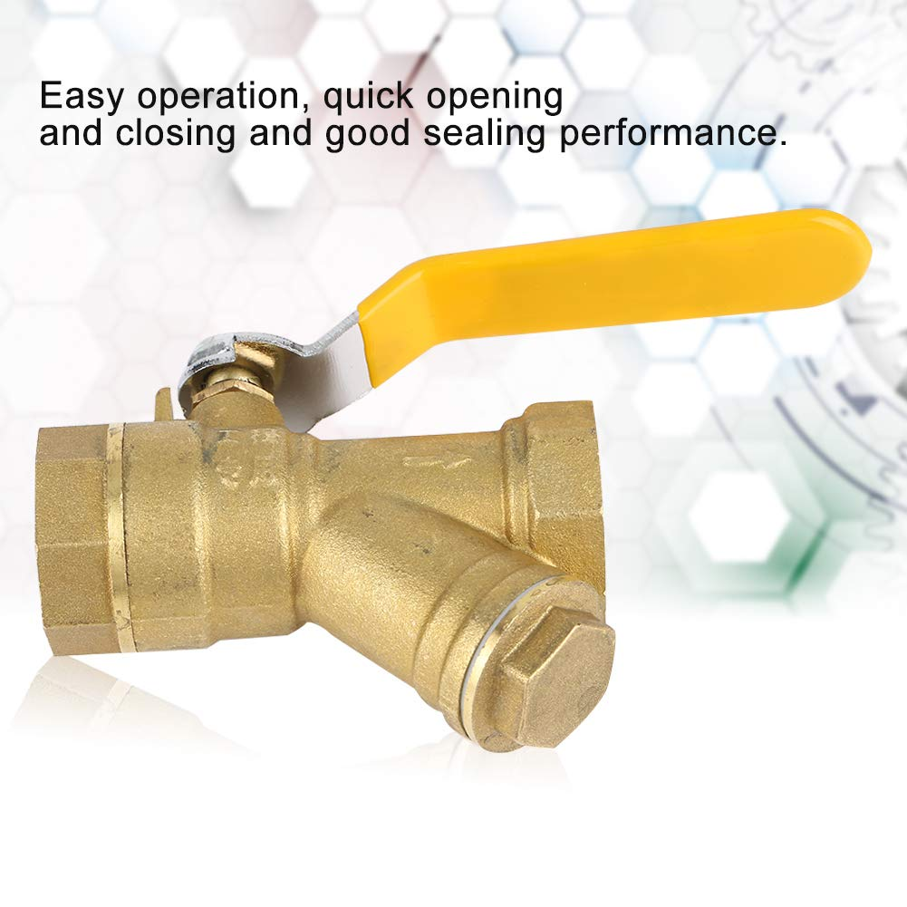 Y Type Brass Strainer Filter Ball Valve 3//4 BSPP Female Thread for Water Natural Gas Y Type Ball Valve