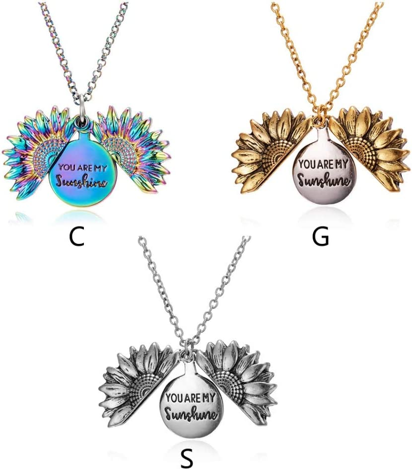 WAINEO Sunflower Locket Necklace You are My Sunshine Engraved Chain Necklace for Her Women
