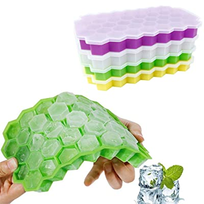 XBKPLO Silicone Ice Cube Trays - 37 Honeycomb Shape per Tray Ideal for Whiskey, Cocktails, Soups, Baby Food and Frozen Treats - Flexible and BPA Free and Includes Covers for Easy Stacking: Sports & Outdoors
