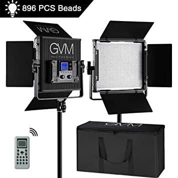 Gvm Led Video Light Kit 2 Pack Dimmable Bi Color Aluminum Alloy Body Led Panel Light With Wireless Controller For Studio Youtube Video Photography