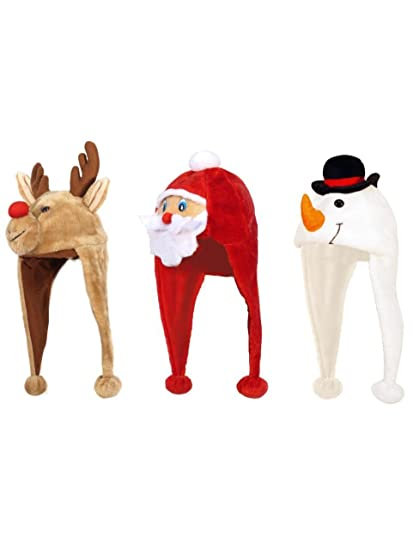 3 novelty christmas hats santa reindeer snowman randomly sent 1