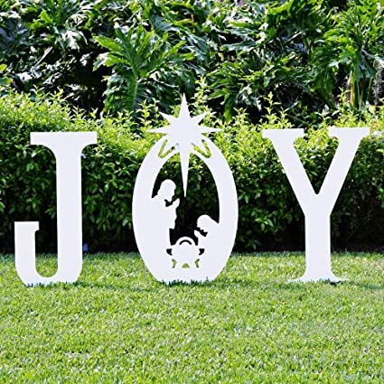 teak isle christmas joy nativity yard sign - Christmas Lawn Decorations Amazon