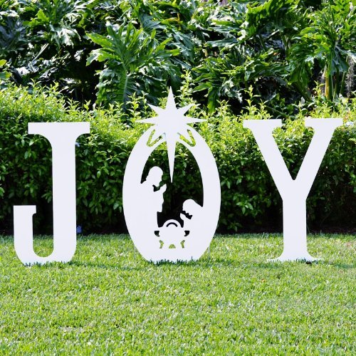 Teak Isle Christmas Joy Nativity Yard - Sign Christmas Post