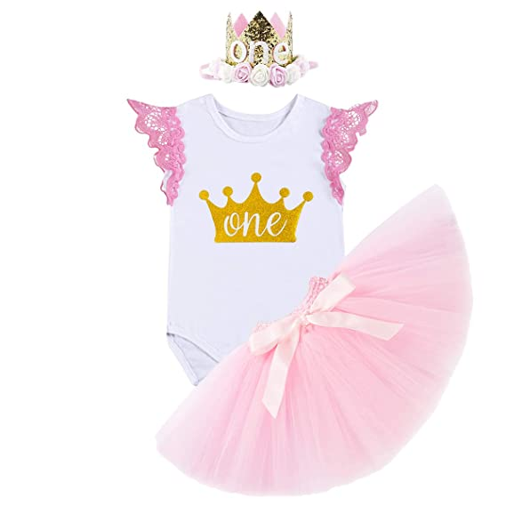 FYMNSI Infantil Bebé Niña Es mi Primer Vestido de Cumpleaños Mameluco de Manga de Encaje + Falda Tutu Rosa + Diadema Corona de la Princesa 3pcs Traje ...