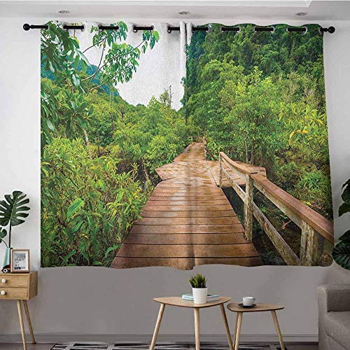 DGGO Custom Curtains,Forest Wood Bridge Around Mangrove Forest Thapom Krabi Thailand Natural Landscape,Great for Living Rooms & Bedrooms,W55x39L Pale Brown Green
